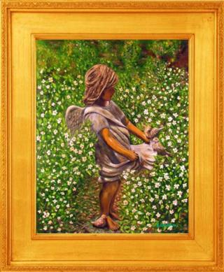 Angel in My Garden I Giclee