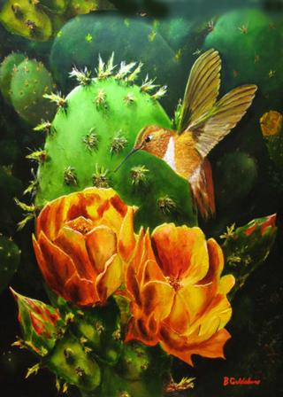 Rufous & Cactus I Greeting Card