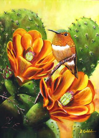 Rufous & Cactus II Greeting Card