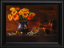 Daisies & Squash Blossoms Giclee