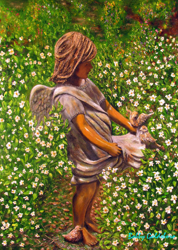 Angel in my Garden I Greeting Cards