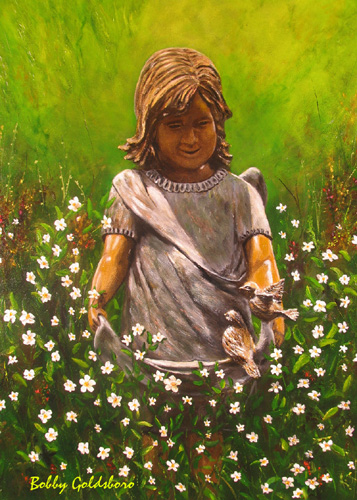 Angel in My Garden II Greeting Cards